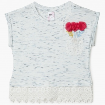 MAX Floral Applique Lace Trim Top
