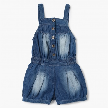 MAX Solid Cinched Waist Denim Romper