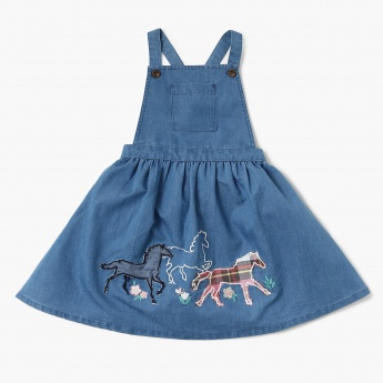 MAX Horse Applique Flared Pinafore Dress