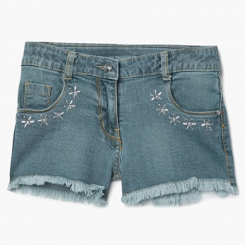 MAX Studded Florals Denim Fringed Shorts