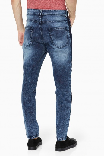 MAX Dark Wash 5-Pocket Jeans With Contrast Sides