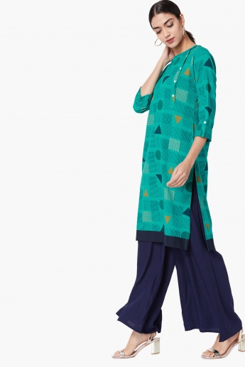 MAX Geometric Print Button Placket Kurta