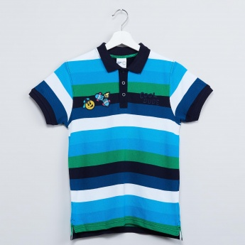 MAX Striped Patchworked Polo Neck T-shirt