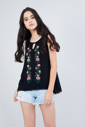 MAX Embroidered Crochet Back Overlapped-Back Top