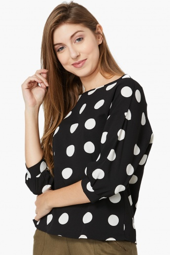 MAX Dot Print Boat Neck Three-Quarter Sleeved Blouse