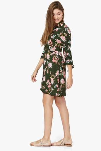 MAX Floral Printed Button-Up A-Line Dress