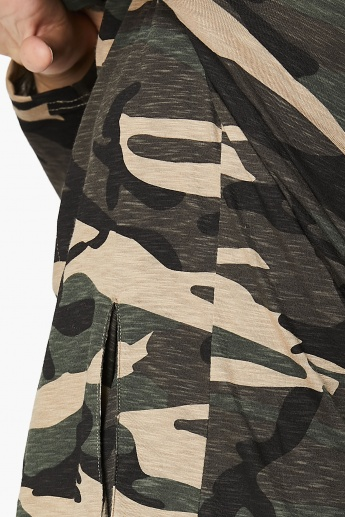 MAX Camouflage Printed Hooded Longline Shrug