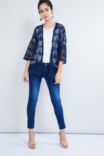 MAX Open Knit Three-Quarter Sleeve Shrug