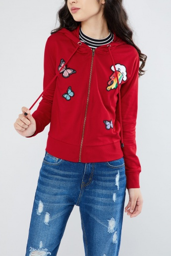 MAX Applique Detail Zip-Up Hooded Sweatshirt