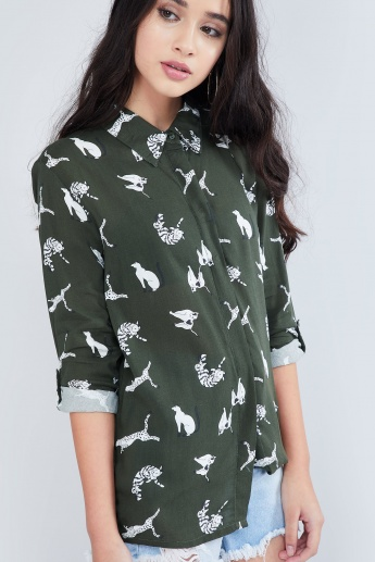 MAX All-Over Print Roll-Up Sleeve Shirt