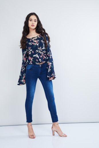 MAX Floral Print Bell Sleeve Top