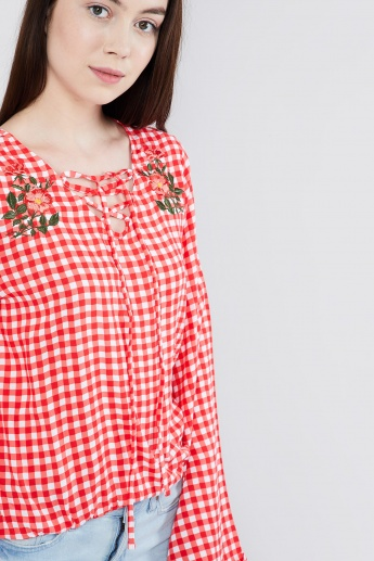 MAX Checked Criss-Cross Tie-Up Neck Blouse