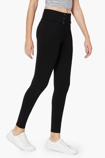 MAX Solid Button Detail High Rise Treggings