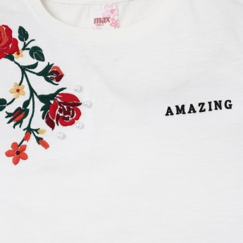 MAX Typographic Print Top with Floral Embroidery