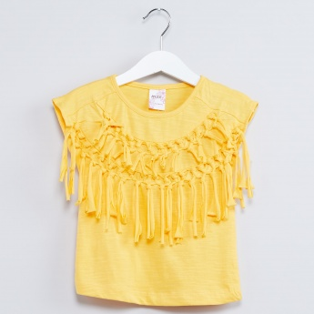 MAX Knotted Fringed Extended Sleeve Top