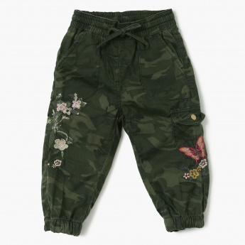 MAX Camouflage Floral Embroidery Balloon Pants