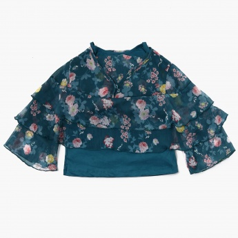 MAX Floral Printed Tier-Layered Top