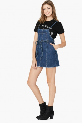 MAX Raw Edge Finish Denim Pinafore Dress