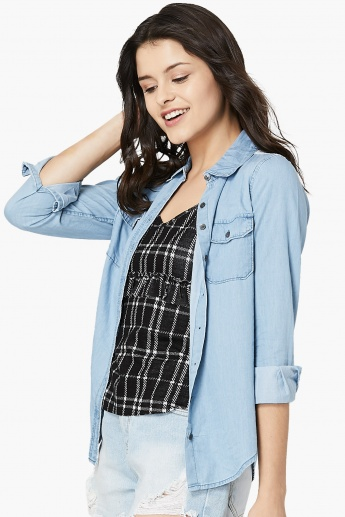 MAX Solid Lacy Back-Yoke Detail Shirt