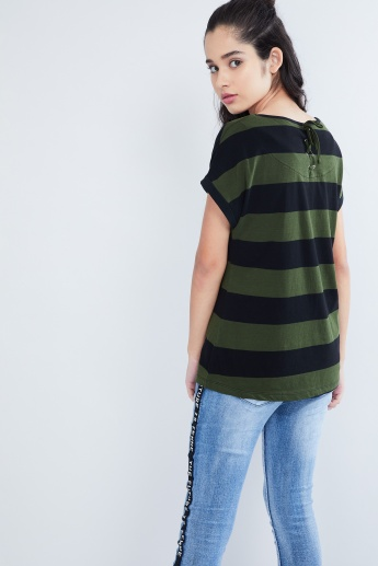 MAX Horizontal Stripe Cap Sleeve Top