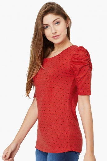 MAX Dot Print Gathered-Sleeve Top