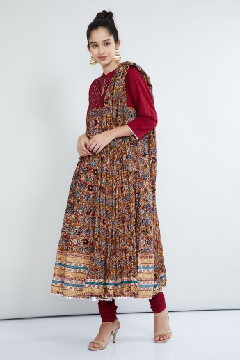 MAX Printed Anarkali Kurta with Churidars and Dupatta