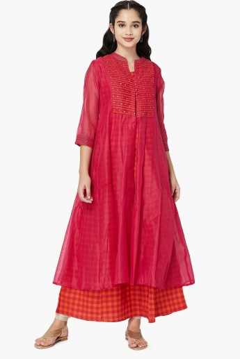 MAX Embroidered Layered Kurta with Sheer Sleeves