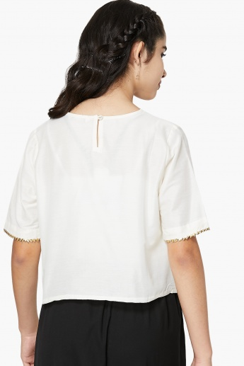 MAX Embroidered Trim Detail Sleeves Top