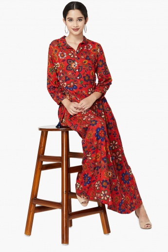 MAX Printed Spread Collar Three-Quarter Sleeve Maxi Dress
