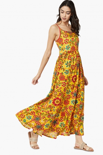 MAX Floral Print Gathered Maxi Dress