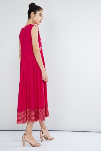 MAX Sleeveless Midi Dress with Zari Embroidery