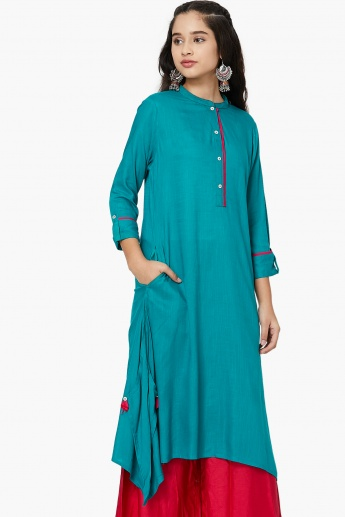 MAX Dipped Hems Solid Flared Kurta