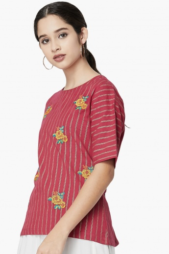 MAX Floral Embroidered Striped Top