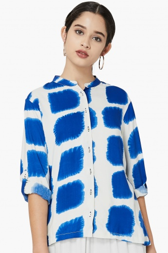 MAX Tie-Dye Printed Band Collar Shirt