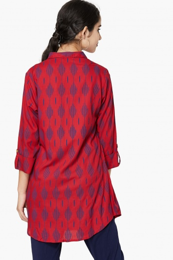 MAX Printed Three-Quarter Rolled-Up Sleeve Tunic