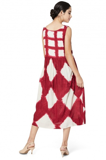 MAX Tie-Dye Printed Gathered Midi-Dress