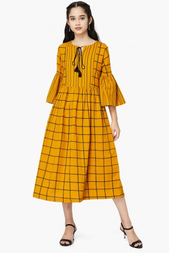 MAX Checked Bell Sleeves Midi Dress