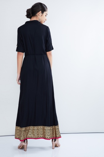MAX Button Down Border Maxi Dress
