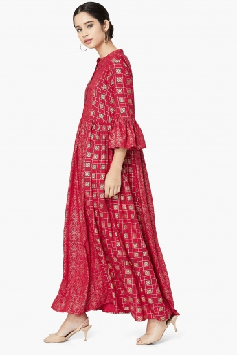 MAX Bell Sleeves Foil Print Maxi Dress