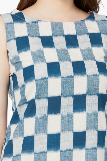 MAX Checked Washed Effect Shift Dress