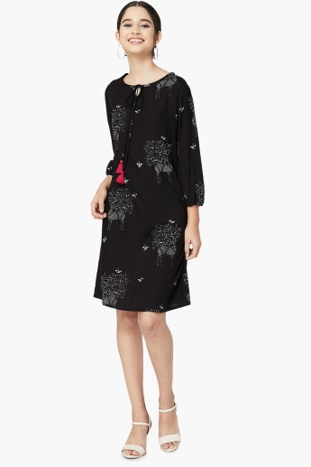 MAX Front Tie-Up Deer Print A-line Dress