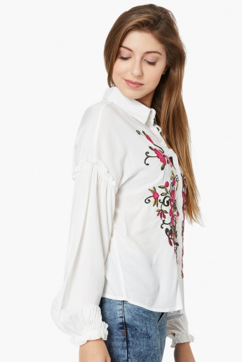 MAX Floral Embroidery Drop-Shoulder Shirt