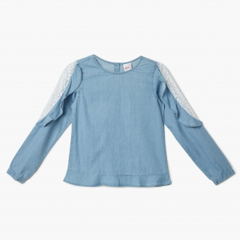 MAX Solid Lace-Detailed Long-Sleeve Top