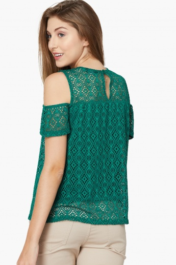 4610eb9f0e4b9b MAX Cold-Shoulder Crochet Top