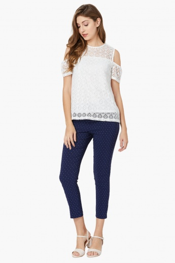 MAX Cold-Shoulder Crochet Top
