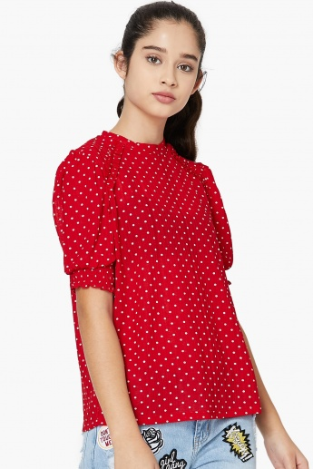 MAX Polka-Dot Print V-neck Top