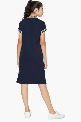 MAX Striped Band Collar Straight Dress