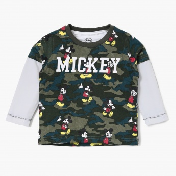 MAX Mickey Mouse Print Camouflage Twofer T-shirt