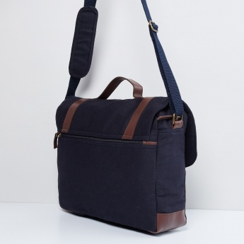 MAX Solid Buckled Strap Closure Satchel
