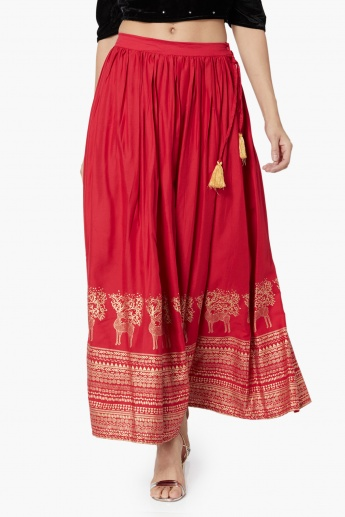 MAX Ethnic Print Flared Maxi Skirt